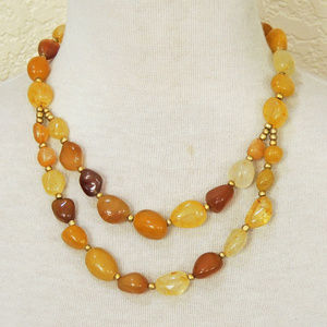 Chunky Yellow Gold Agate Strand Statement Necklace